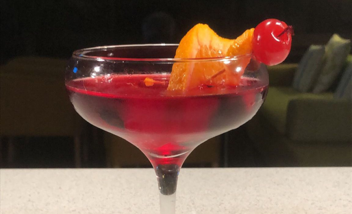 Martini in glass with cherry
